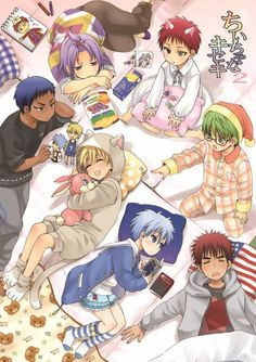 Generation of Miracles Child ver. Murasakibara: So tired~ Arashi: *mumbles* Kuroko Midorima: My lucky item?! Kagami: *dreams* Hamburger~~ Kuroko: thinking about Kagami's dream Kise: OMG! What a cute bunny Aomine: So bored *talking to Kuroko*