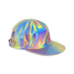 Futuristic Hologram Hat ($20) ❤ liked on Polyvore featuring accessories, hats, 80s hats, yellow hat and 80s fashion