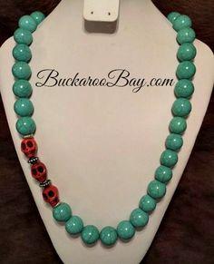 Red Skull Cowgirl Necklace  Matching Bracelet sold separately  A Buckaroo Bay Original! Buckaroo Bay Cowgirl Jewelry & Western Accessories  BuckarooBay.com
