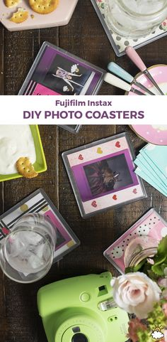 These DIY coasters are the ultimate gift for any occasion, and they're so easy to make! Diy Quirky Gifts, Diy Gifts, Photo Coasters, Diy Coasters, Photo Projects, Craft Projects, Mini Polaroid, Instax Mini 9, Mini Photo