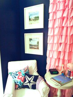 navy & pink nautical nursery - I could make this curtain out of drop cloths :)
