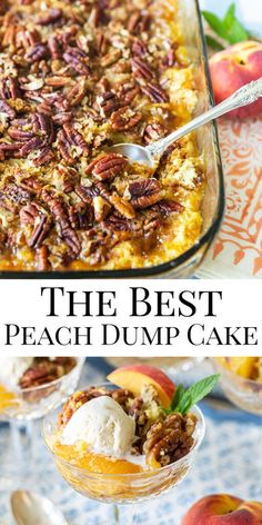 Peach Cobbler Dump Cake, Peach Cake, Peach Dump Cakes, Dump Cake Recipes, Dessert Recipes, Pecan Recipes, Frosting Recipes, Bread Recipes, Easy Desserts
