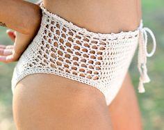 Crochet High Waisted Bikini Bottom