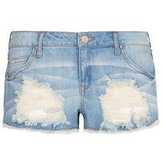 Mango Distressed denim shorts ($35) ❤ liked on Polyvore