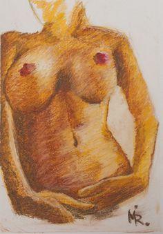 Drawing - hard pastel color art nude torso