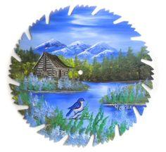 Hand Painted Saw Blade Art  Mountain Summer Log Cabin and Bluebird