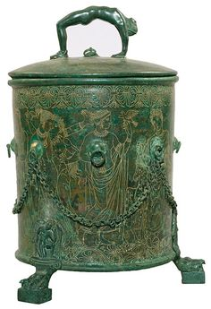 COOL HANDLE!!! // Cista with cover Praenestine, ca. 300 B.C. Bronze Height (from foot to top of handle lid) 14 1/4 inches (362 mm); diameter (at top of cylind...