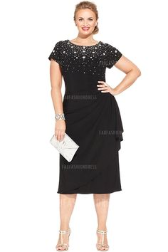 Sheath/Column Jewel Tea-length Jersey Mother of the Bride Dress