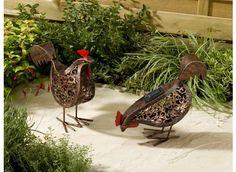 Poules solaires en métal - Jardin et Saisons