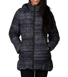 THE+NORTH+FACE+Long+sleeves+Warm+550+fill+goose+down+insulated+winter+jacket+All-over+print+Snap-off,+removable+hood+Contoured+quilting+for+waist+definition+Zip+closure+Rounded+cocoon+drop-tail+hem