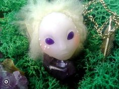 Healing amethyst  / Polymer clay pedant  jewellery / fantasy creature by Quendiart on Etsy