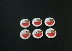 6 It's Raining Cats and Dogs Buttons. Novelty by buttonsbyrobin