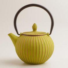 Aqua Cast Iron Basket Weave Teapot   World Market