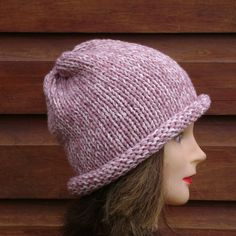 Chunky Knit Slouch Beanie,Roll Brim Wool Hat, Woman Winter Hat Fingerless Gloves Knitted, Knitted Hats, Crochet Hats, Slouch Beanie, Slouchy Hat, Chunky Wool, Winter Hats For Women, Brim Hat, Hand Knitting