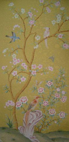 Handpainted silk wallpaper (Chinoiserie Style)