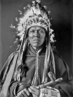 Hitunena (aka Gros Ventre Man, aka Cleaver Warden), the husband of the Southern Cheyenne woman known as Traveler (aka Eva Rogers-Warden), ion Washington, D.C. - Southern Arapaho - 1909 Native American...