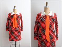 60s Mod Mini Dress /Plaid Dress / 1960s Dress / by PARASOLvintage