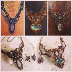 マクラメネックレスコレクション。  #macrame #Accessories #Necklace #Labradorite #RainbowMoonstone