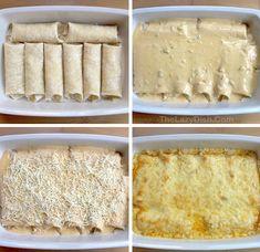 Creamy White Chicken Enchiladas (Quick & Easy Dinner Recipe) Creamy Chicken Enchiladas, Best Chicken Enchilada Recipe, Chicken Recipes, Dinner Recipes Easy Quick, Fast Easy Dinner, Cream Cheese Chicken, 9x13 Baking Dish, Creamy White, Mexican Food Recipes