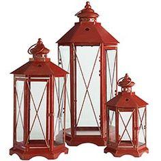 Rustic Red Metal Lanterns