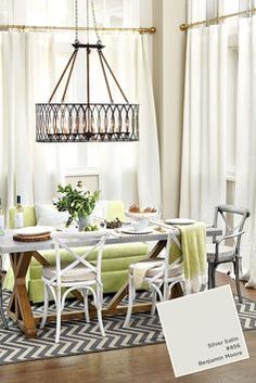 Benjamin Moore's Silver Satin is an easygoing off-white with hints of taupe.