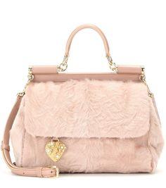 DOLCE & GABBANA Miss Sicily Medium leather and shearling shoulder bag