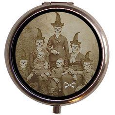 $7.50 Skull Face Victorian Witch Family Alt Art Pill Box Case | eBay