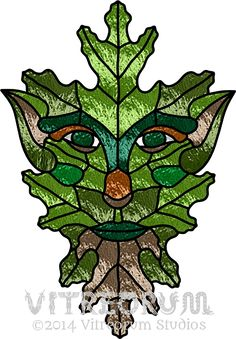 Green Man Stained Glass Pattern - Instant PDF Download