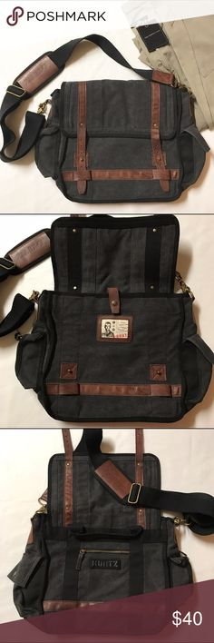 """Men's A-Kurt messenger bag Men's messenger bag by A-Kurt, black denim and brown leather, super sturdy, perfect for school or work, can fit books and laptop, two side pockets, interior pocket and one additional zip pocket, measure approx. 12.5""""h x 14""""w x 5""""d, includes adjustable and removable shoulder strap. Used only a couple of times, in excellent condition. A Kurt Bags Messenger Bags"""