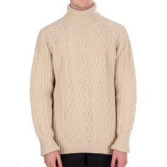 Barbour Deck Roll Neck Knit - Capt Phillips Collection - Pearl #Barbour #mensfashion #knitwear  Available at www.BritishMotorcycleGear.com