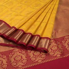 Subhashini Yellow Handwoven Korvai Kanjivaram Silk Saree With Checks & Iruthalaipakshi Motifs 10008428 - AVISHYA.COM
