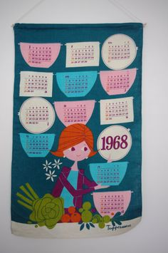 1968 TUPPERWARE vintage linen fabric by PURRFECTKATVINTAGE on Etsy, €10.00
