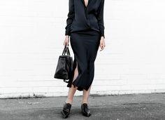 modern legacy, street style, christopher esber, silk shirt dress, stella mccartney loafers, navy, black, work outfit, style (1 of 1)