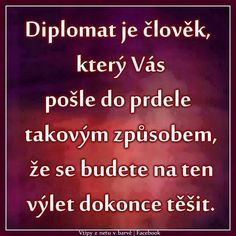 Diplomat je člověk, který Vás pošle do prdele takovým způsobem, že se budete na ten výlet dokonce těšit. Great Quotes, Inspirational Quotes, Funny Memes, Jokes, Life Thoughts, Interesting Quotes, True Words, Be Yourself Quotes, Happy Life