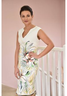 Joseph Ribkoff Cream & Tropical Print Dress - Style 226 Top Ladies Boutique Online - Special Occasion, Casual Clothing, Mother of the Bride