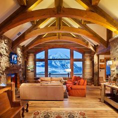 Mountain home constructed by Daniel J Architect of Crested Butte, CO.  View more photos on our Facebook page: fb.com/logcabinbureau