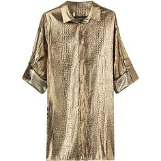 Alexandre Vauthier Metallic Silk-Blend Blouse ($1,053) ❤ liked on Polyvore featuring tops, blouses, gold, button front tops, metallic crop top, brown crop top, metallic gold crop top and metallic top