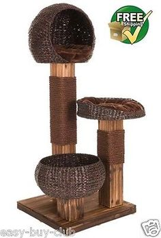 Wood-Cat-Tree-Scratching-Post-Activity-Centre-Bed-Scratcher-Climbing-Toy-Scratch