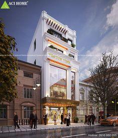 Thiết kế nhà phố kết hợp cửa hàng kinh doanh.Phong cách thiết kế nhà phố 5 tầng kiểu Pháp sang trọng