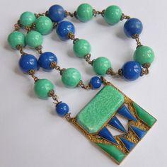 Vintage High Art Deco Czech Faux Jade Green Lapis Blue Art Glass Bead Necklace | eBay