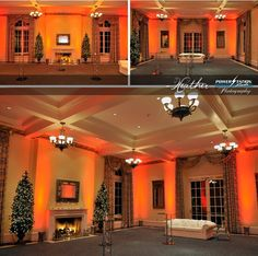 Uplighting idea for the upcoming Holidays #uplighting #orangewalls