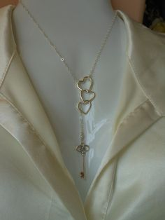 Lariat Sterling Silver Key Necklace Hearts by TheButterflyGarden7, $40.00---- absolutely obsessed with this. anything with a heart and a key >>
