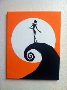 Disney Silhouette Painting - The Nightmare Before Christmas (Hand painted, no stencils, custom background colors, made to order) on Etsy, $30.00