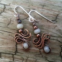Antique Copper and Amazonite Gemstone Celtic Wind Wire Work Dangle Earrings. This earring is from a tutorial from JewelryLessons.com called Celtic Wind. The earring hangs 1 3/4 inches from the top o