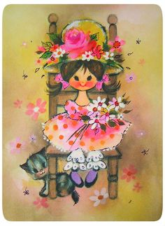 Vintage card girl and kitty by bewitchedmagic, via Flickr
