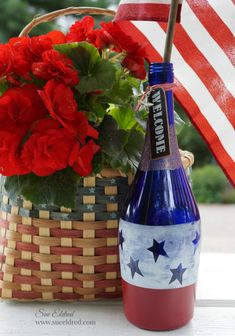 How to make a Patriotic Red, White and Blue Etched Wine Bottle – Sue's Creative Workshop
