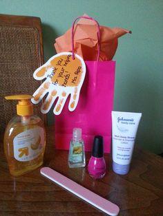 Parent volunteer or classroom aide gift: hand soap, hand sanitizer, hand lotion, nail polish, nail file, nail polish remover