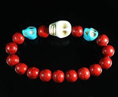 New Year Gift Turquoise White Cyan Skulls & Red Ball Beads Stretch Bracelet 468