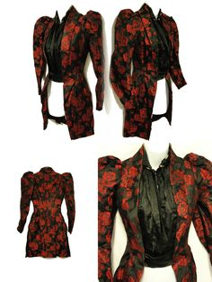 VICTORIAN 1890'S BLACK & RED ROSES SATIN BROCADE FITTED BODICE FROCK JACKET~XS | eBay