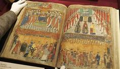 The Black Book of the Garter, showing the page in which the enthronement of England's King Henry VIII is depicted.